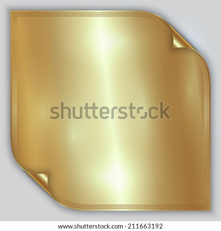 Vector abstract golden metallic rolled foil sheet with border - stock vector