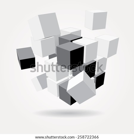 vector abstract gray scale composition with cubes - stock vector