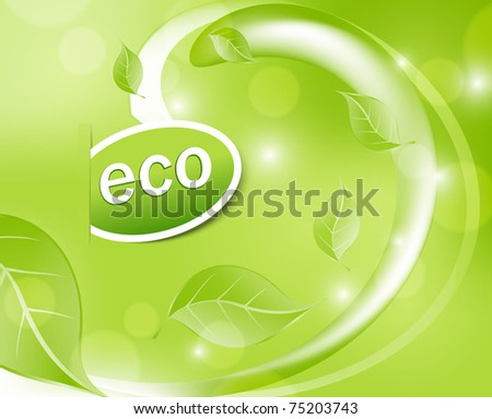 vector abstract green background with leaves, waves, and the inscription eco - stock vector