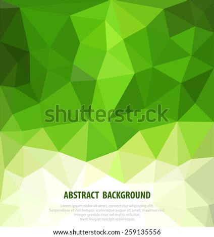 vector abstract green background with mosaic for business  - stock vector