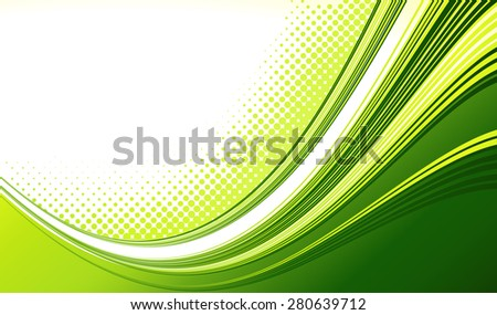 Vector Abstract green color curved lines background with halftone. Retro Template brochure design - stock vector