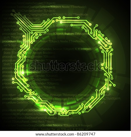 Vector Abstract green technical background with place for your text - stock vector