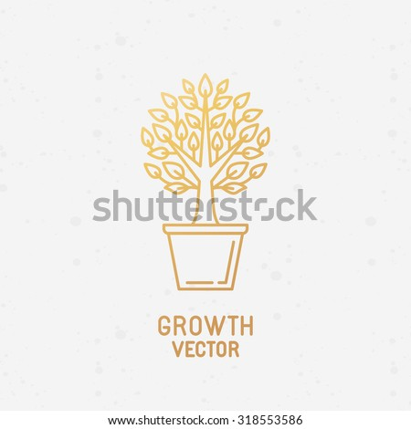 Vector abstract growth logo design element in trendy linear style made with golden foil on white background - growing and prospering plant in the pot - process and development concept  - stock vector