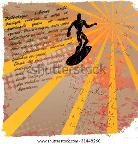 vector abstract grunge surfer - stock vector
