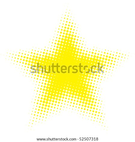 Vector abstract halftone star pattern composed of perfect circles