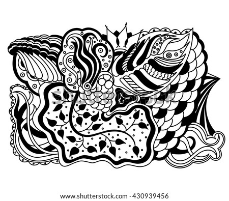 Vector abstract hand-drawn floral texture, wavy background. Flowers and leaves backdrop. Pattern for coloring book. Doodle style. Zentangle style.