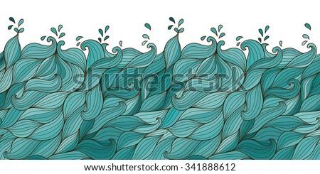 Vector abstract hand-drawn waves - stock vector