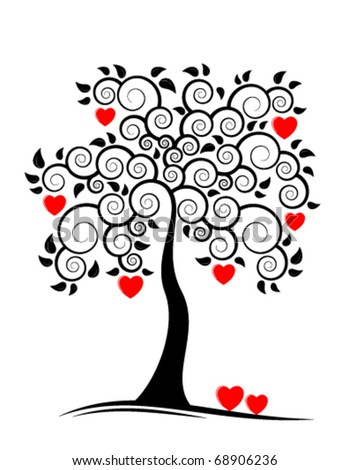 vector abstract heart tree on white background - stock vector