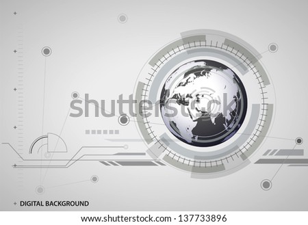 vector abstract hitech digital global background. - stock vector