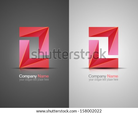 Vector abstract icon. Corporate identity. Design elements. Pink shapes. - stock vector