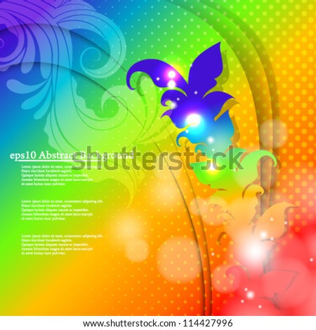 vector abstract illustration colorful floral background - eps10 - stock vector