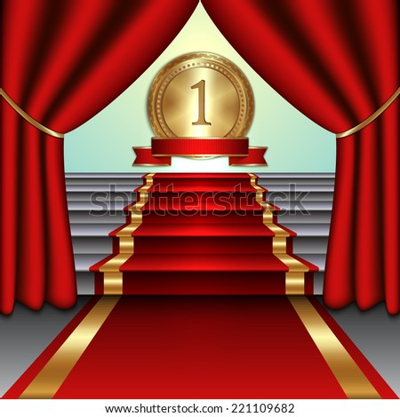 Vector abstract illustration of curtains, red carpet on staircase gold medal with ribbon - stock vector