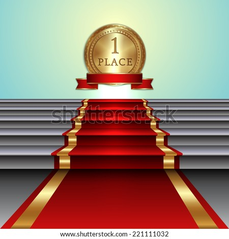 Vector abstract illustration of red carpet on staircase and gold medal with ribbon on light background - stock vector