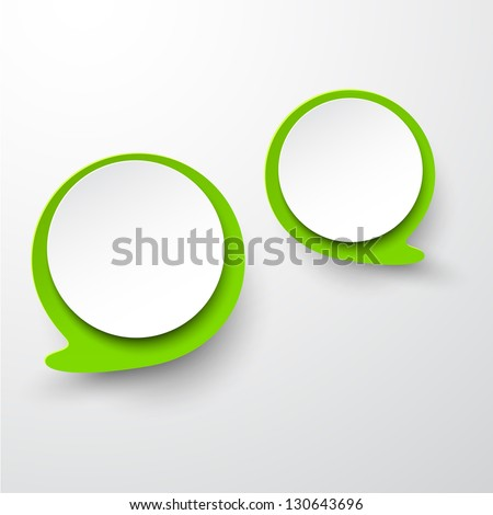 Vector abstract illustration of white and green paper round speech bubbles on grey background. Eps10. - stock vector