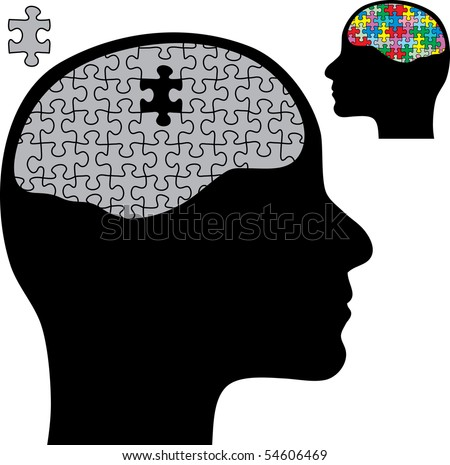 vector abstract illustration with brain and puzzle