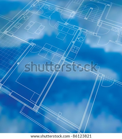 vector abstract illustration with cloudy blueprint - stock vector