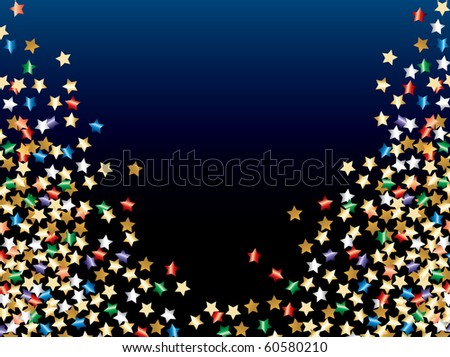 vector abstract illustration with colorful confetti stars - stock vector