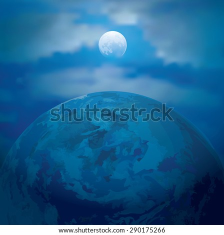 vector abstract illustration with full Moon and Earth - stock vector