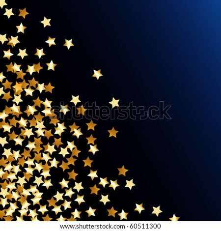 vector abstract illustration with golden confetti stars