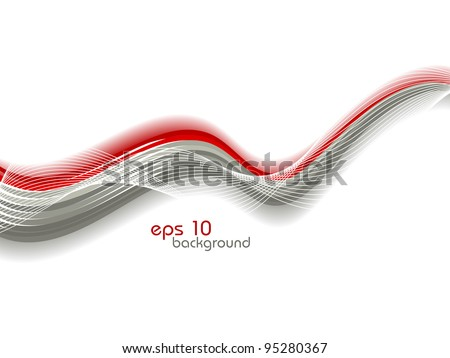 Vector abstract illustration with red and grey waves on bubbles background. - stock vector