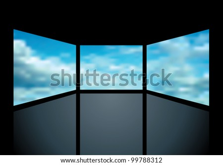 vector abstract illustration with three screens with clouds - stock vector