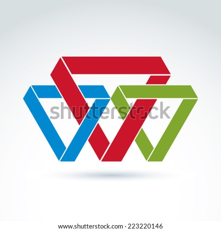 Vector abstract intersected isosceles triangles. Geometric colorful figures isolated on white background, corporate brand symbol. - stock vector