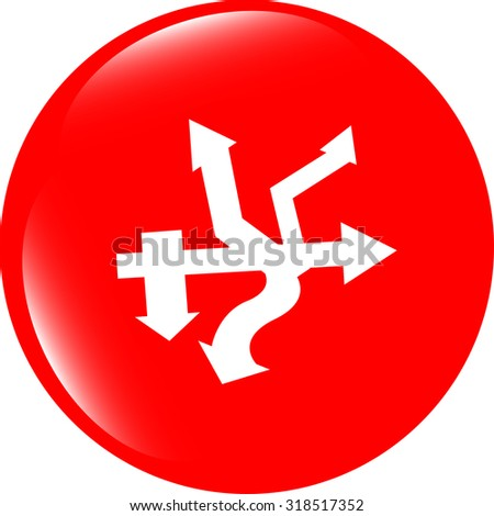 vector abstract lines (arrows) on web glossy icon (button) - stock vector