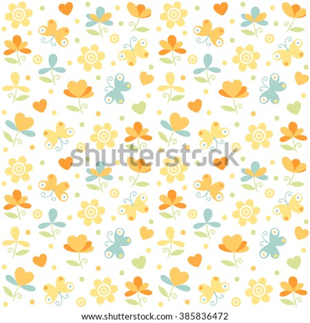 Vector abstract little flowers and butterfly seamless pattern. Trendy multicolor floral print. - stock vector