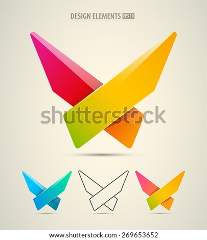 Vector abstract logo design. Corporate identity X letter symbol. Modern corporate logo elements - stock vector
