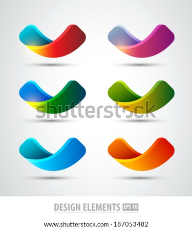 Vector abstract logo shapes. Colorful  design template. Ribbon shapes.  - stock vector