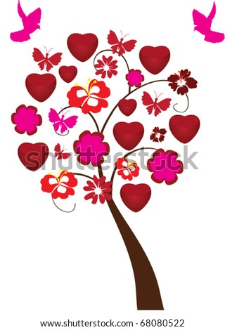 vector abstract love tree with hearts, flowers and pink doves - stock vector