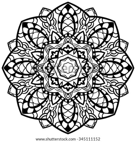 Vector, abstract, mandala with black outline on a white background. Round element of ornament. Template for design. Sketch for tattoo. - stock vector