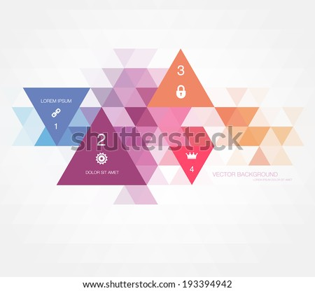 Vector abstract modern polygonal geometric infographic background. Triangular mosaic. Numbered sequence. - stock vector