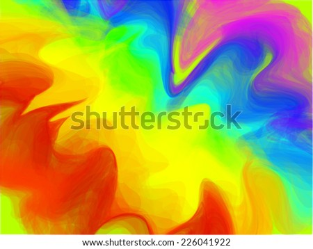 Vector  abstract  multicolor background design. Beautiful  rainbow, splash and wave of colors of dream, imagination, fantasy and abstract art. As wallpaper, canvas, design element, clip art. - stock vector