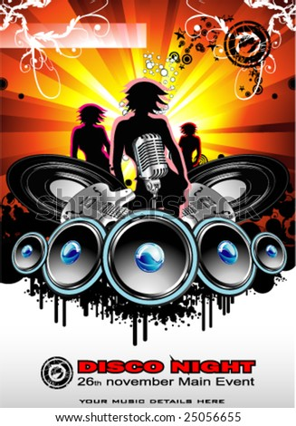 VECTOR Abstract Music background for discoteque night event - stock vector