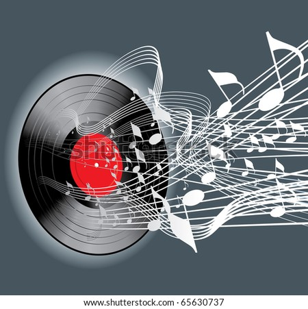vector abstract music background with vinyl record - stock vector