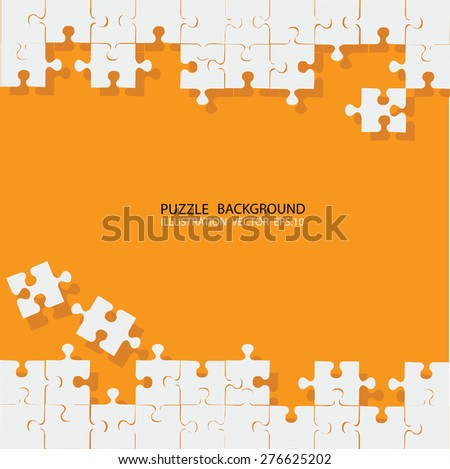 Vector Abstract orange background with white puzzle pieces and place for your content - stock vector
