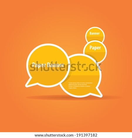 vector abstract orange paper banner or speech bubble on stylish orange background