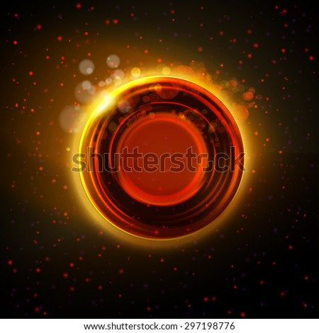 Vector abstract. Orange, red and gold colors abstract circle badge at night background. Modern industrial or technology concept.