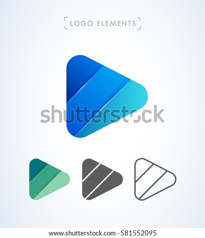 Vector Abstract Origami Play Button Logo Stock Vector 2018