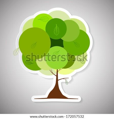 Vector Abstract Paper Green Tree Illustration - stock vector
