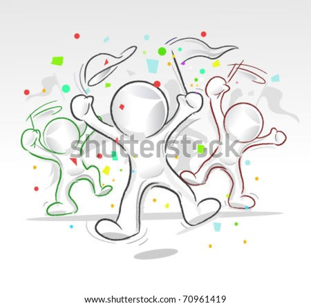 vector abstract party guys for any celebration or festive concept - stock vector