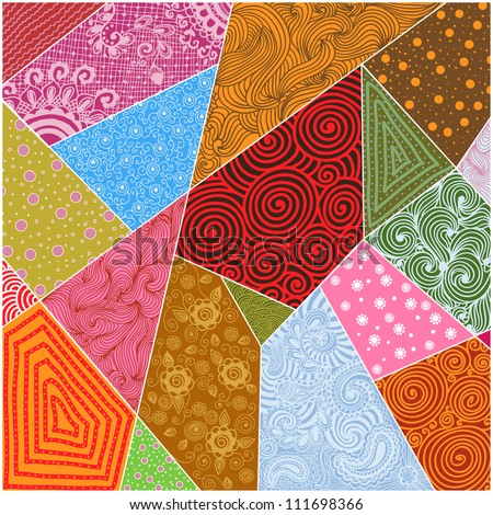 Vector abstract patchwork background - stock vector