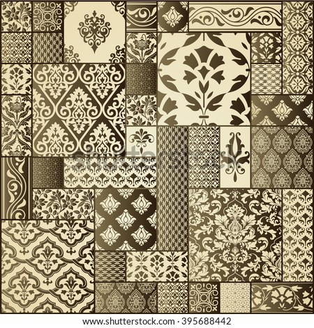 Vector abstract patchwork pattern with geometric and floral ornaments. Can be used for wallpaper, pattern fills, web page background,surface textures.