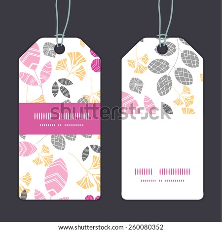 Vector abstract pink, yellow and gray leaves vertical stripe frame pattern tags set - stock vector