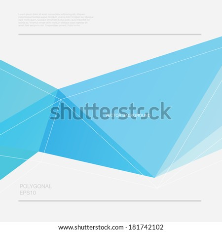 Vector abstract polygonal blue geometric background - stock vector