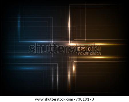 Vector abstract power design against a dark background - stock vector