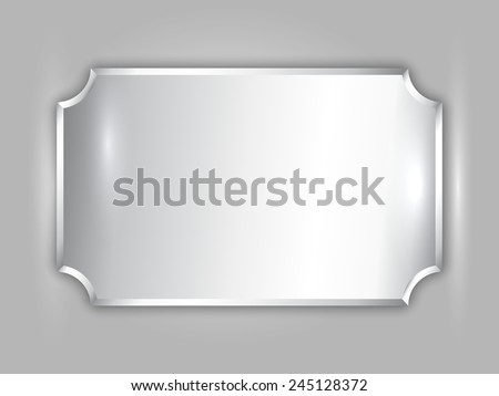 Vector abstract precious metal silver award plate with curved corners and place for text - stock vector
