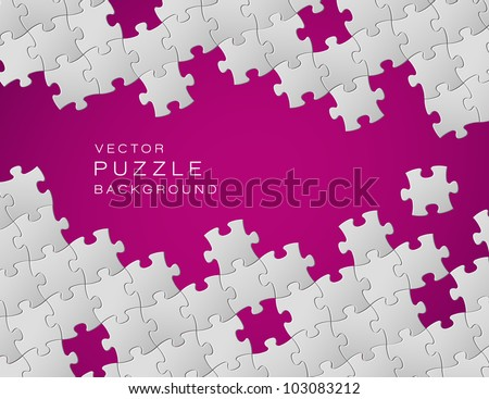 Vector Abstract purple background made from white puzzle pieces and place for your content - stock vector