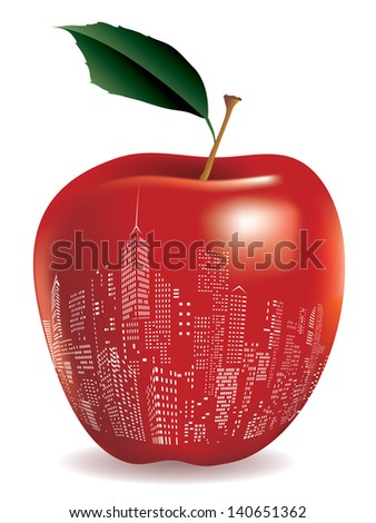 vector abstract red apple New York sign - stock vector